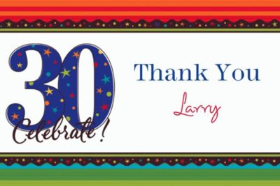 Custom A Year to Celebrate 30th Birthday Thank You Notes