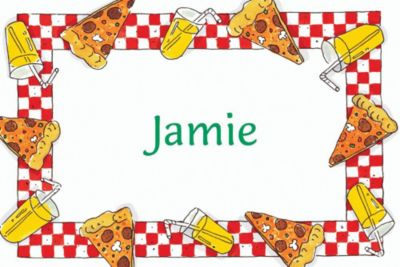 Custom Pizza Party Border Thank You Notes