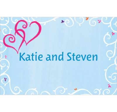 Hearts with Vines & Buds Custom Wedding Thank You Note