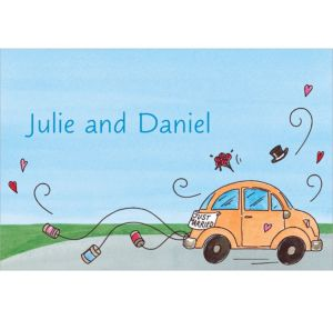 Custom Just Married Getaway Car Bridal Shower Thank You Notes