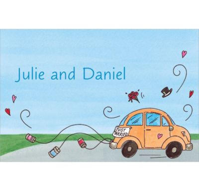 Just Married Getaway Car Custom Bridal Shower Thank You Note