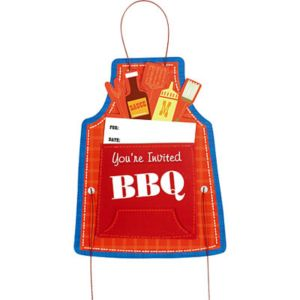 Premium Sliding BBQ Apron Invitations 8ct
