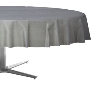 Silver Plastic Round Table Cover