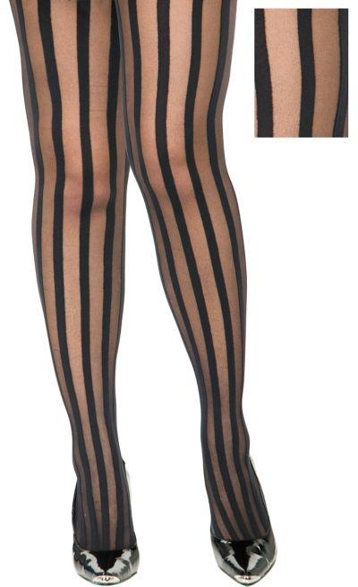 Adult Black Ribbon Stripe Pantyhose Plus Size