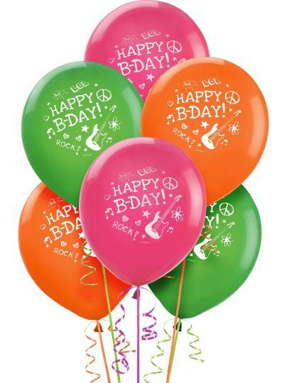 Happy Birthday Balloons 6ct - Neon Doodle
