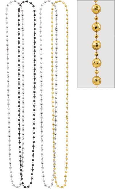 Black, Gold and Silver Diamond Bead Necklaces 4ct