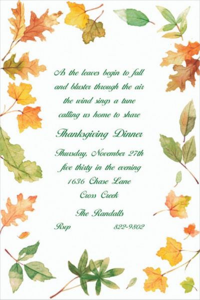 Autumn Leaves Border Custom Invitation