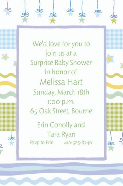 Custom Stars with Gingham Baby Shower Invitations