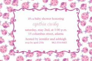 Custom Pink Ladybugs Baby Shower Invitations
