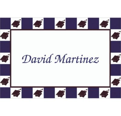Custom Mortarboard Checkerboard Graduation Thank You Notes