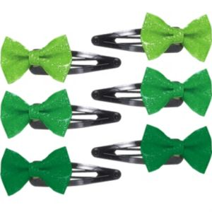 Green Glitter Bow Hair Clips 6ct