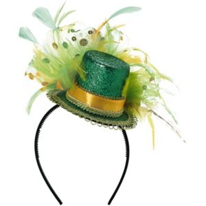 Fancy Green Glitter Mini Top Hat