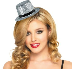 Mini Glitter Silver Top Hat