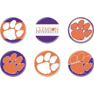 Clemson Tigers Buttons 6ct