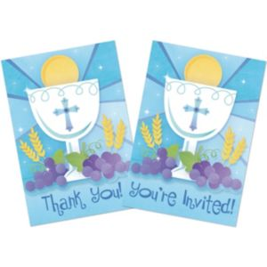 Boy's First Communion Invitations & Thank You Notes Combo Pack 20ct