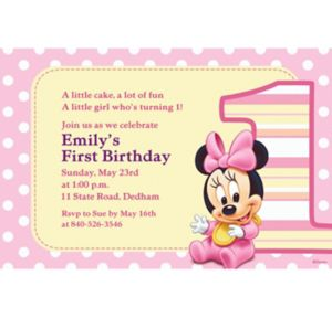 Custom Minnie Mouse 1st Birthday Invitations