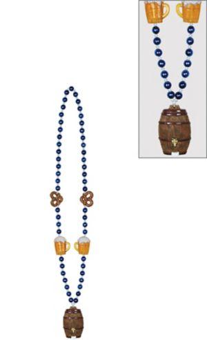 Oktoberfest Pretzels & Keg Pendant Bead Necklace