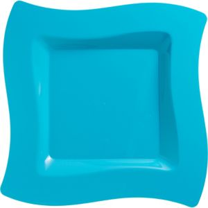 Caribbean Blue Premium Plastic Wavy Square Dinner Plates 10ct