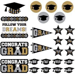 Black, Gold & Silver Graduation Cutouts 30ct