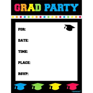 Colorful Postcard Graduation Invitations 8ct