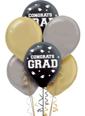 Black, Silver & Gold Graduation Balloons 72ct