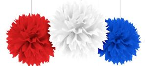Red, White & Blue Fluffy Decorations 3ct