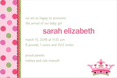 Little Princess Custom Birth Announcement
