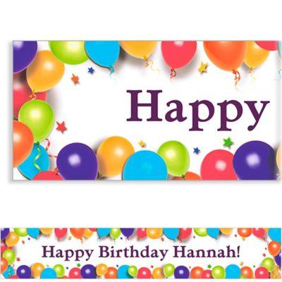 Balloon & Stars Custom Birthday Banner