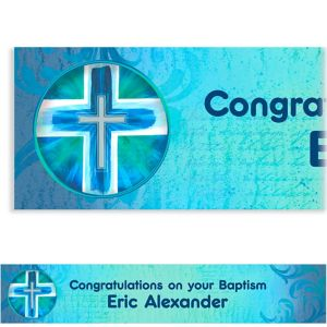 Custom Joyous Cross Blue Banner 6ft
