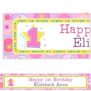 Custom One-Derful Girl 1st Birthday Banner 6ft