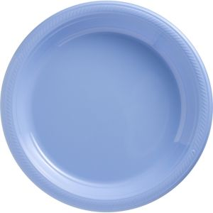 Pastel Blue Plastic Dinner Plates 50ct