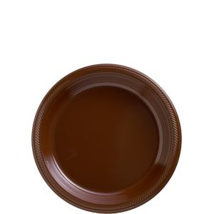 Big Party Pack Chocolate Brown Plastic Dessert Plates 50ct