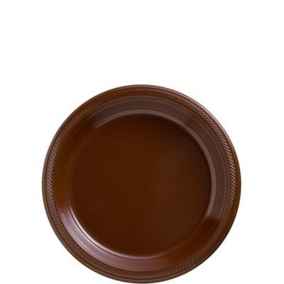 Chocolate Brown Plastic Dessert Plates 50ct