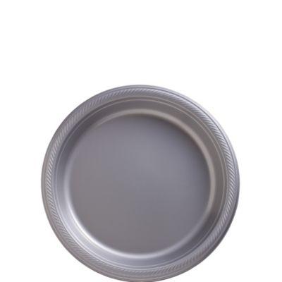 Silver Plastic Dessert Plates 50ct