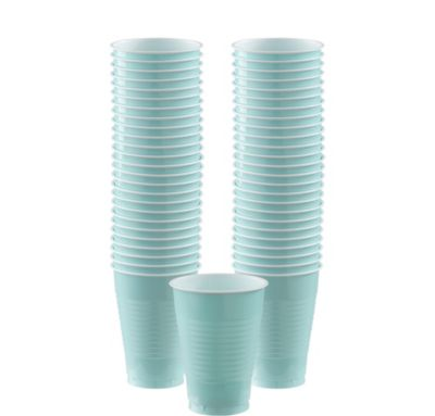 BOGO Robin's Egg Blue Plastic Cups 12oz 50ct