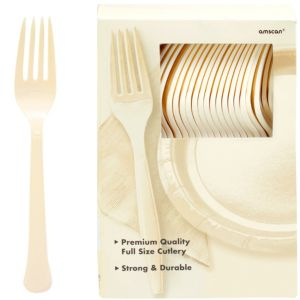 Big Party Pack Vanilla Cream Premium Plastic Forks 100ct