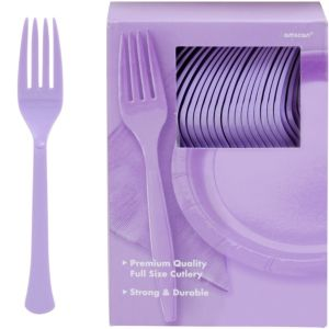 Big Party Pack Lavender Premium Plastic Forks 100ct
