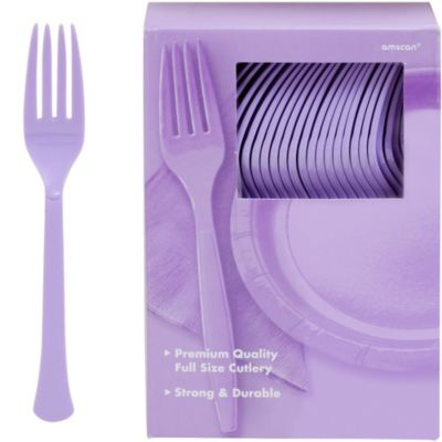Lavender Premium Plastic Forks 100ct