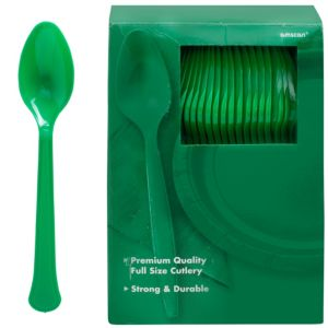 Big Party Pack Festive Green Premium Plastic Spoons 100ct