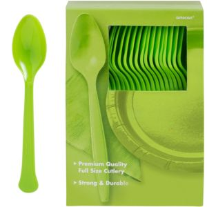 Big Party Pack Kiwi Green Premium Plastic Spoons 100ct
