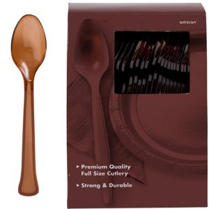 Big Party Pack Chocolate Brown Premium Plastic Spoons 100ct