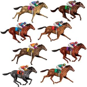 Race Horse Cutouts 8ct