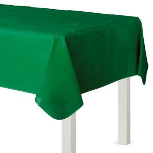 Festive Green Flannel-Backed Vinyl Table Cover