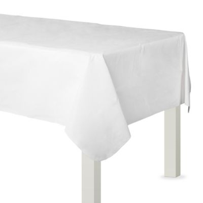 White Flannel-Backed Vinyl Table Cover
