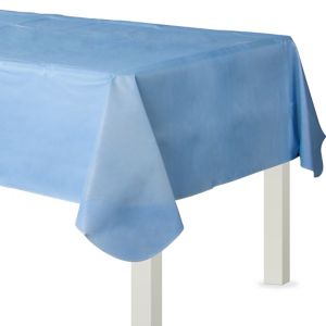Pastel Blue Flannel-Backed Vinyl Tablecloth