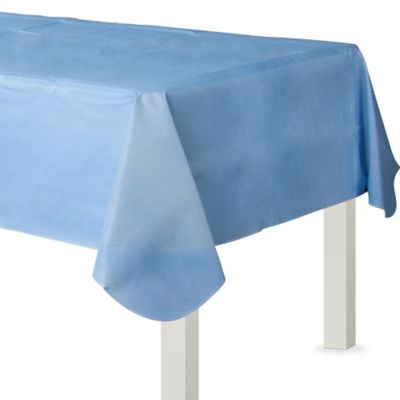 Pastel Blue Flannel-Backed Vinyl Table Cover