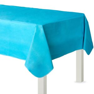 Caribbean Blue Flannel-Backed Vinyl Tablecloth
