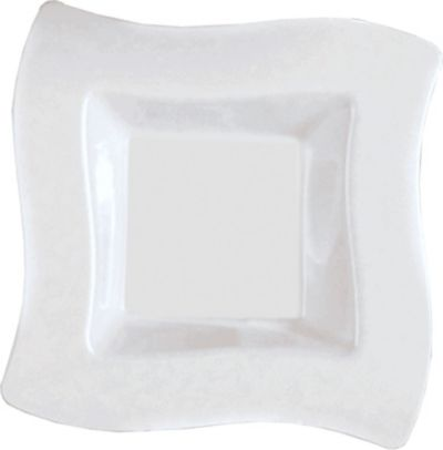 Large White Premium Plastic Wavy Square Bowl 10ct