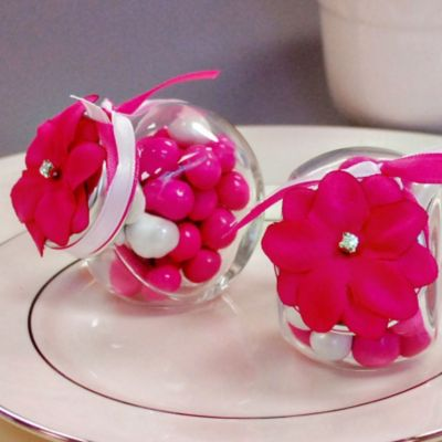 Bright Pink Rhinestone Flower Wedding Favor Accessory