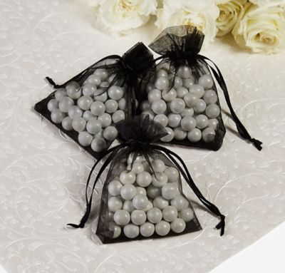 Black Organza Favor Bags 24ct